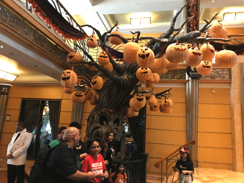 Halloween tree on the Disney Wonder filled with carved pumpkins.
