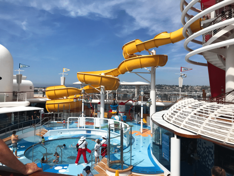 Kid pool and slide on the Disney Wonder Cruise.