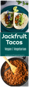 Teal plate on a table containing 2 jackfruit tacos topped with purple cabbage and avocado.