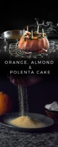 An orange, almond and polenta cake recipe presented in the form of a pin.