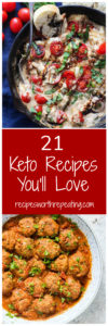 Round up of 21 Keto recipes featuring 5 dishes ranging from pizza, meatballs, caprese dip and more.