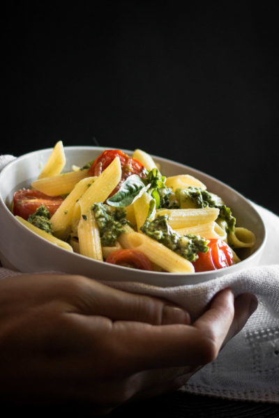 Buttery Gluten Free Pasta with Pesto and Roasted Cherry Tomatoes