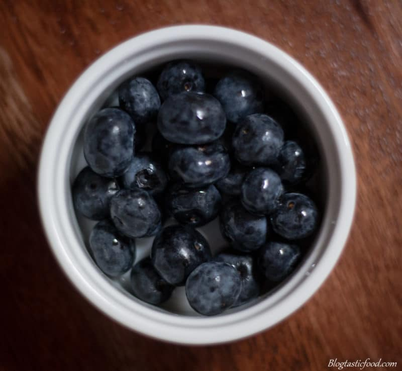 An overhead photo of blueberries.