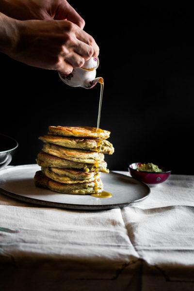 Gluten Free Matcha Pancakes with Lemon Maple Syrup
