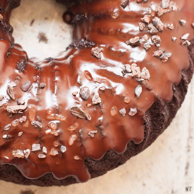 A dark chocolate bundt cake made with cooked quinoa.