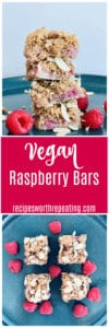 Three Vegan Raspberry Bars Stacked on top of blue plate, raspberries on plate.