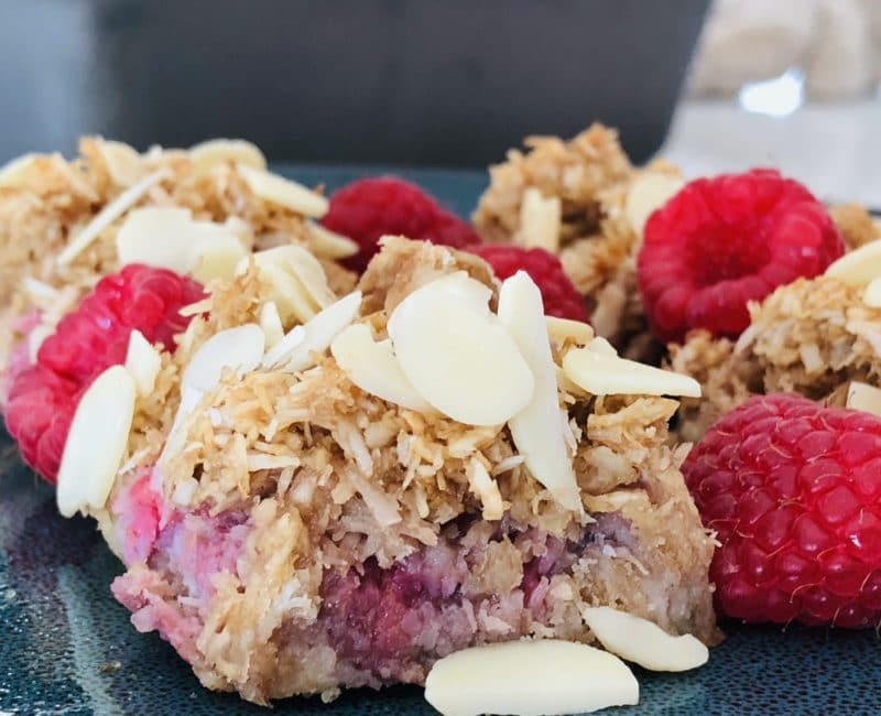 close-up shot of coconut raspberry bar (vegan)
