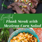 A bowl of corn salsa; flank steak topped with corn salsa.