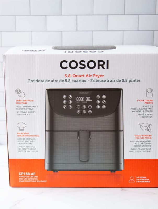 5.8 Quart Cosori Air Fryer on a granite counter.