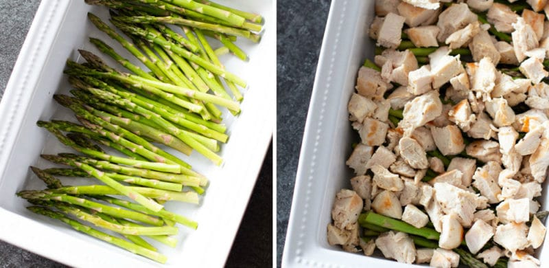 20 asparagus spears in a white dish, baked chicken on top of asparagus.