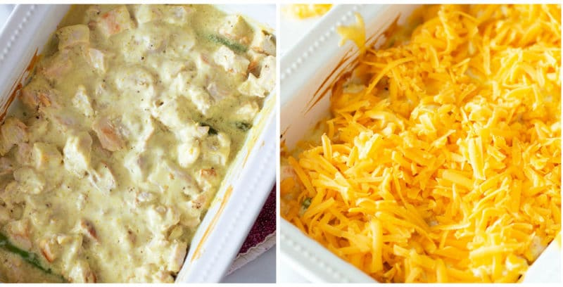 White pyrex dish with diced chicken topped with curry sauce, topped with shredded cheese.