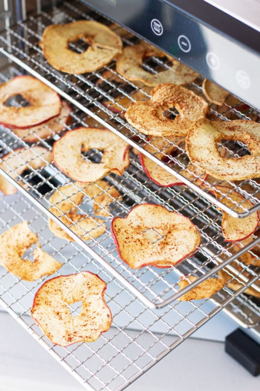 Apple slices dehydrating on 3 trays in a food dehydrator.