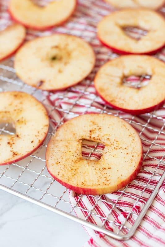 Seasoned apple ring on a wire dehydrator tray.