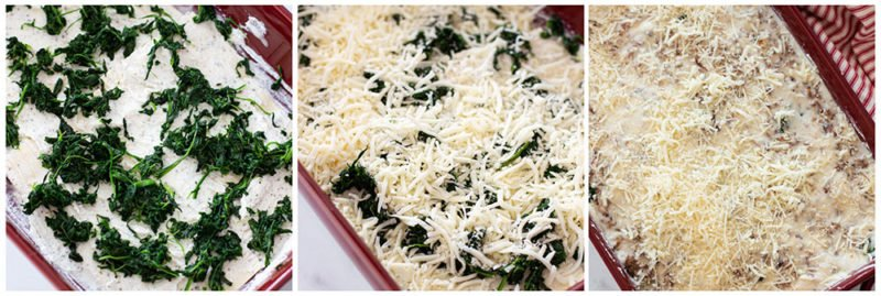spinach layered on lasagna topped with Mozzarella and Parmesan cheese.