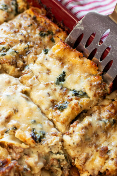 Creamy Spinach and Mushroom White Lasagna