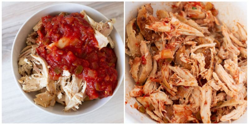 Shredded chicken topped with salsa in a bowl on counter.