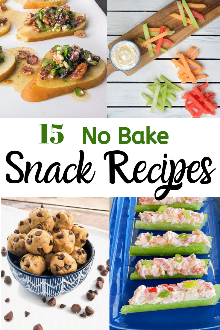 Collage of 4 easy no bake snack recipe ideas.