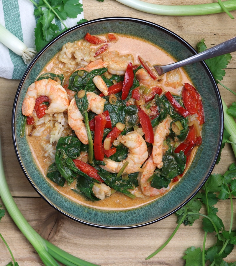 Bowl of shrimp curry topped with spinach and red pepper in a curry sauce, spoon in bowl.
