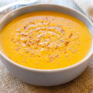 sweet potato soup in bowl