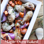 White dish containing roasted chicken with sweet potatoes, carrots, and red onions topped with fresh thyme.