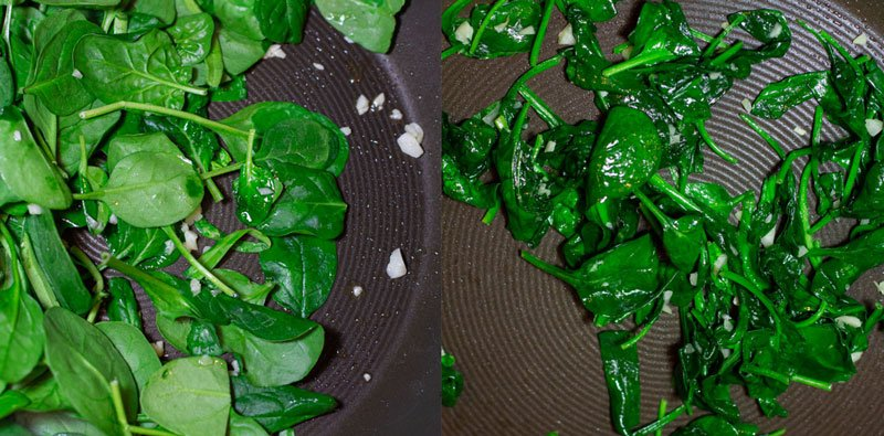 Sauteing spinach in a skillet with garlic.