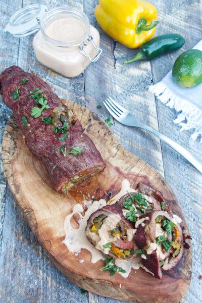 Fajita Stuffed Grilled Flank Steak