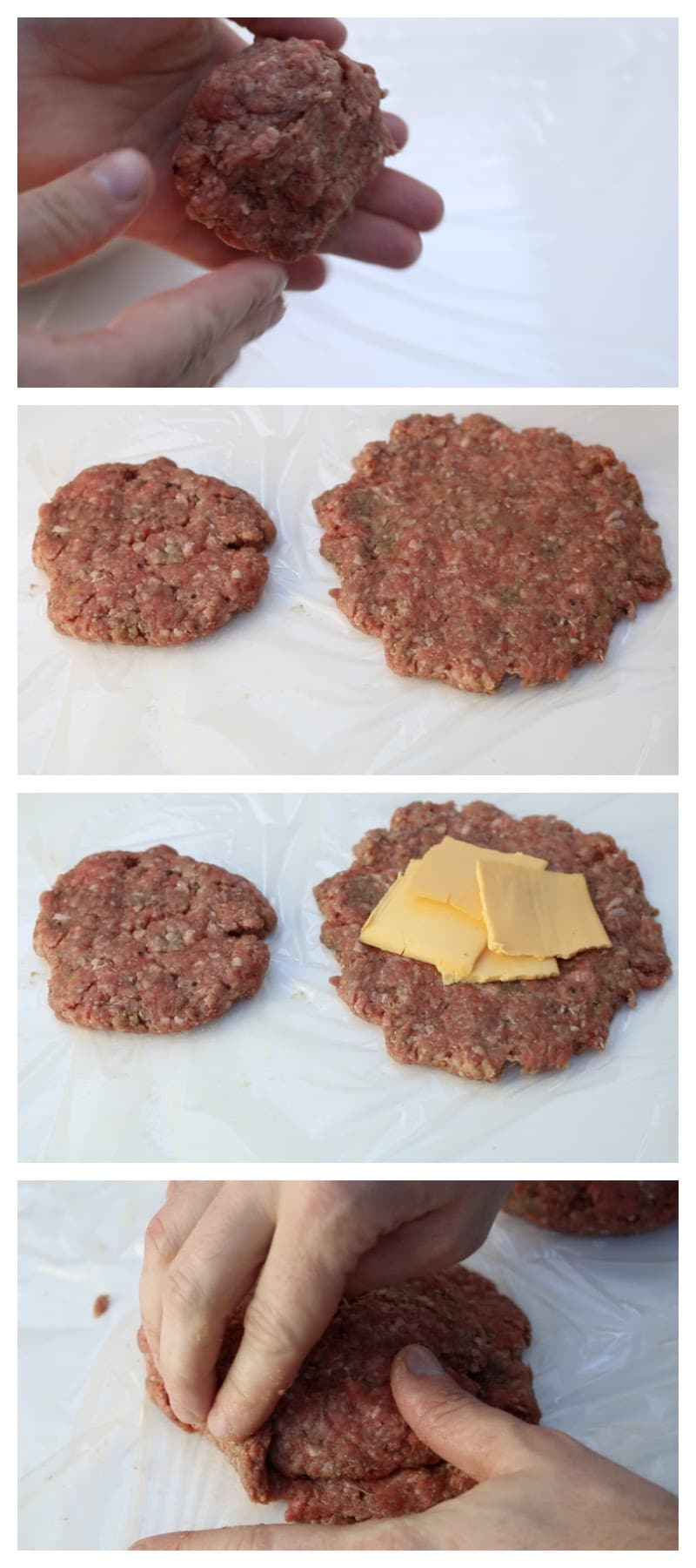 Ground burger process photos showing how to form them into a meatball, flatten into patty, cheese stuffing, and forming patty