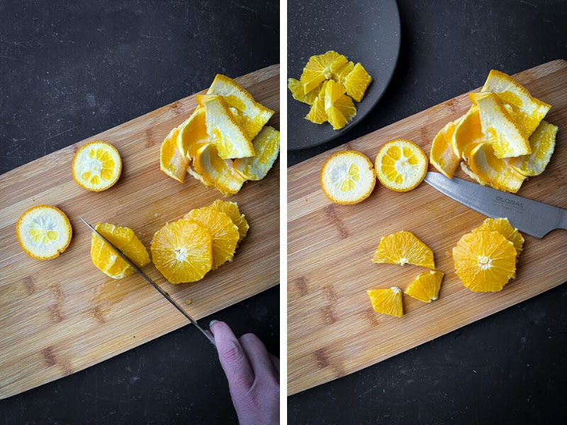 Person slicing oranges on a wooden cutting board.