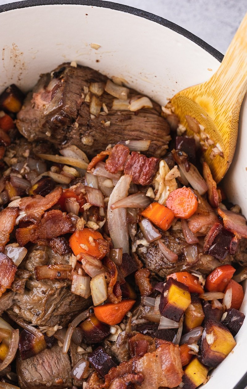 low-carb braised beef in Dutch oven before braise