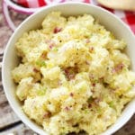 Close up of potato salad in bowl.