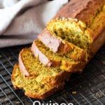 Loaf of Quinoa Banana Bread cut into ¼ inch slices.