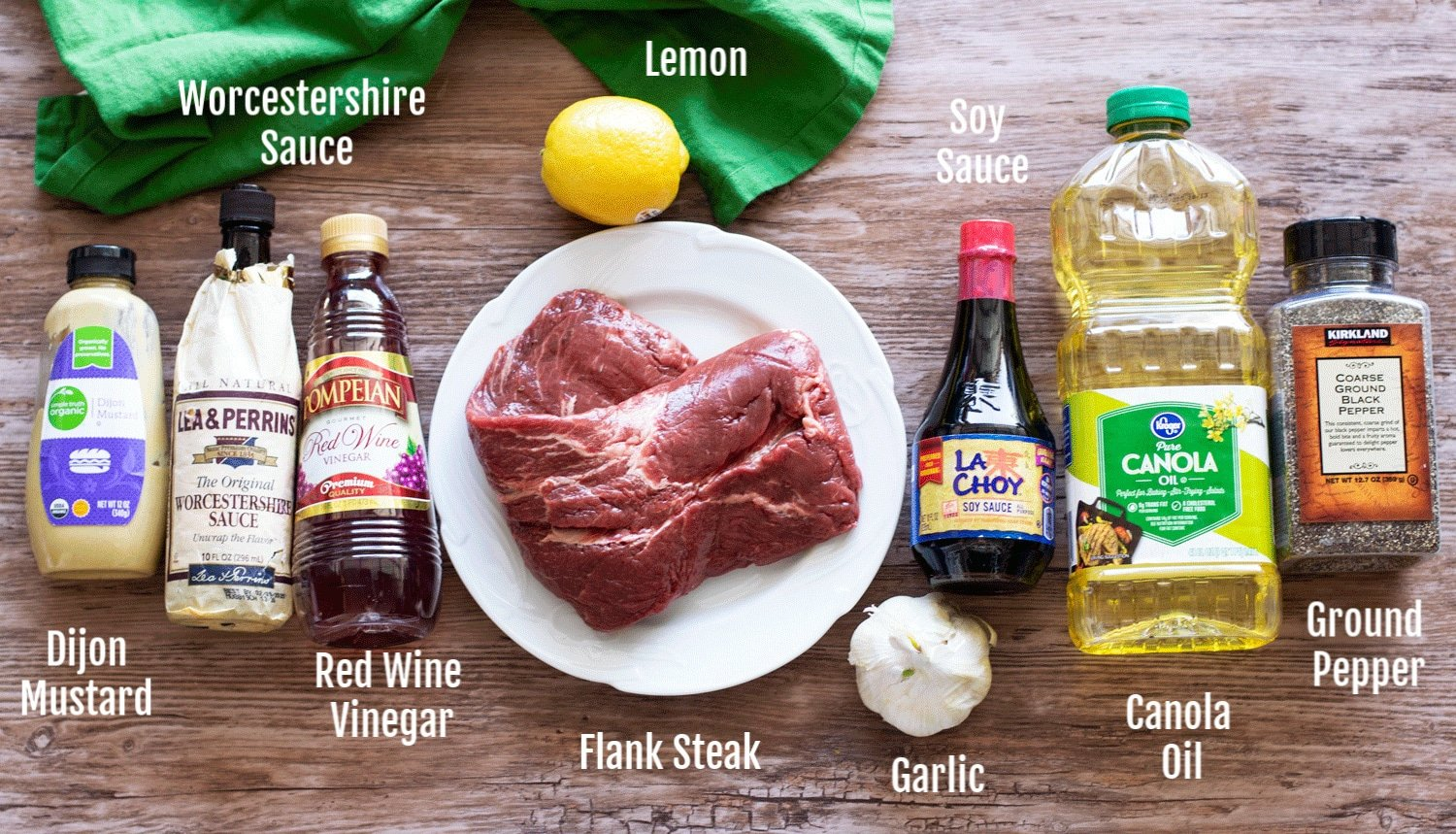 Ingredients on a wooden counter to make a steak marinade.