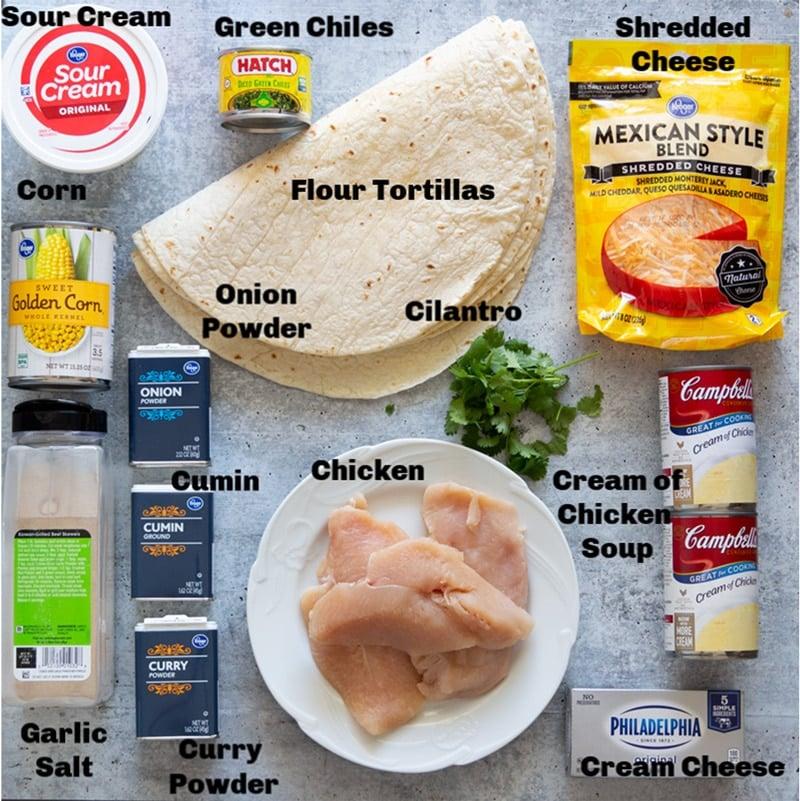 Ingredients on a counter to make chicken enchiladas.