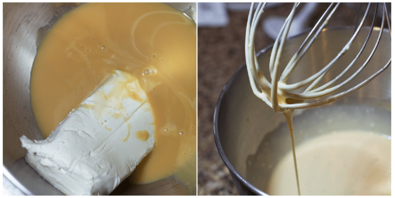 Cream cheese and caramel mixture in a bowl beside a standing mixer.