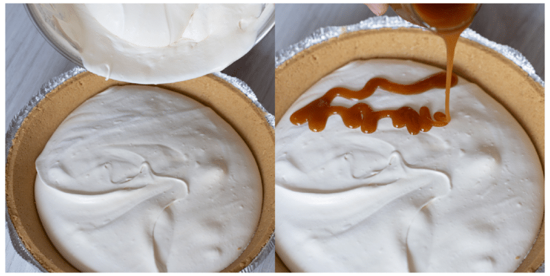 Cream cheese mixture being poured into a pie crust, caramel topping being drizzled on top of filling.