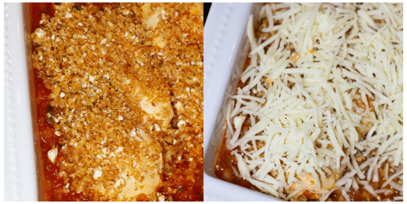 A collage showing breaded chicken and chicken topped with shredded mozzarella cheese.