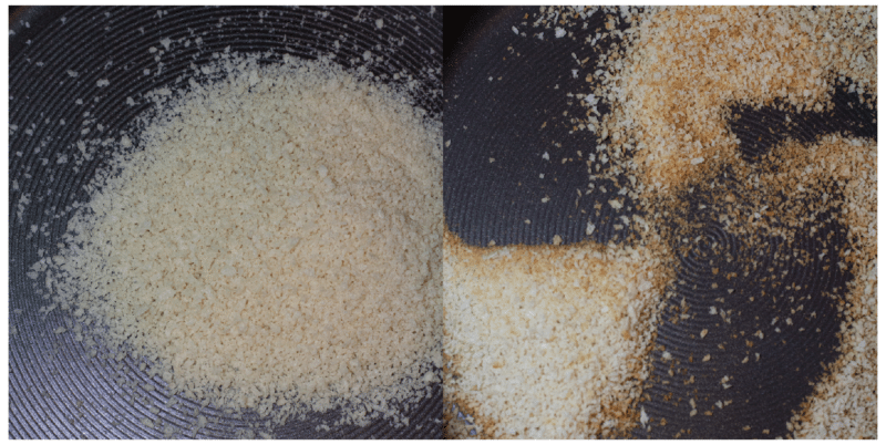 Skillet containing toasted breadcrumbs.