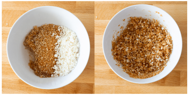 Melted butter, breadcrumbs, and Parmesan cheese in a white bowl.