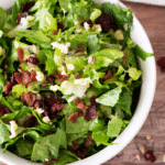 White bowl containing romaine lettuce topped with havarti cheese, bacon and sunflower seeds.