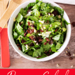 White bowl filled with romaine salad topped with cheese, dried cranberries, and nuts.