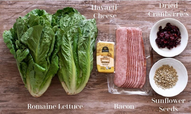 Two heads of romaine lettuce, havarti cheese, bacon, sunflower seeds, and cranberries on table.