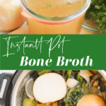 Instant pot filled with vegetables, cup of bone broth on counter.