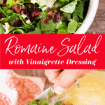 Close up of a romaine salad topped with cheese, berries, and nuts.