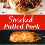 Smoked pulled pork sandwich; pork shoulder smoking in a smoker.