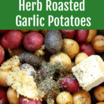 Crockpot containing gemstone potatoes with butter and herbs.