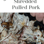 Person shredding pulled pork with meat claws.