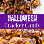 Collage of halloween cracker candy on a white dish.