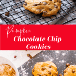 Wire rack cooling chocolate chip cookies.
