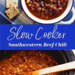 Slow cooker chili with wooden chili; white bowl with chili filled.
