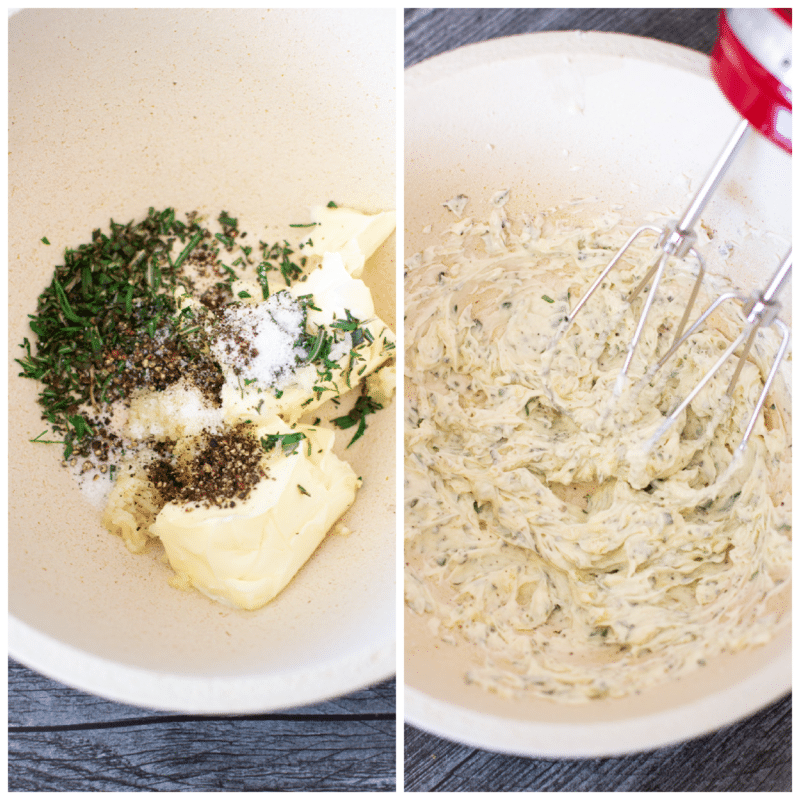 Bowl of butter and herbs, mixer blending compound butter.